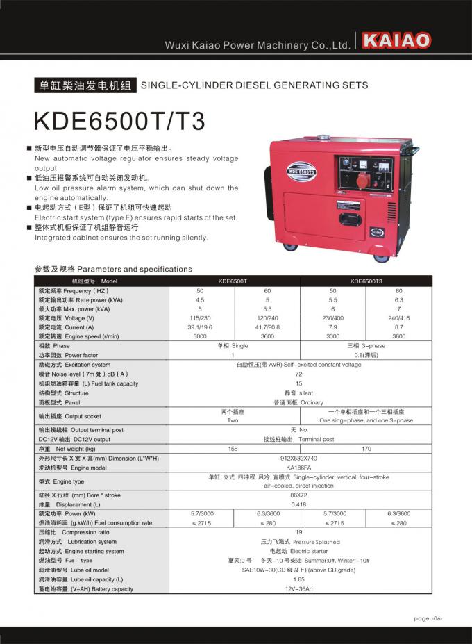 Key Start Super Silent Type Diesel Generator With AVR For Hospital / School
