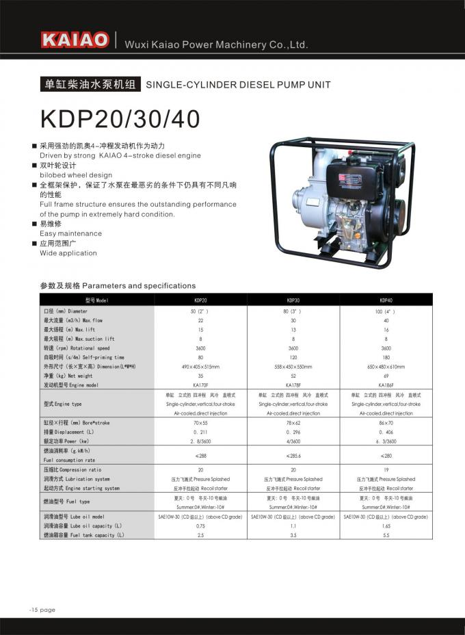 3 Inch Portable Diesel Water Pump 80mm Max Flow For Agricultural Irrigation Use